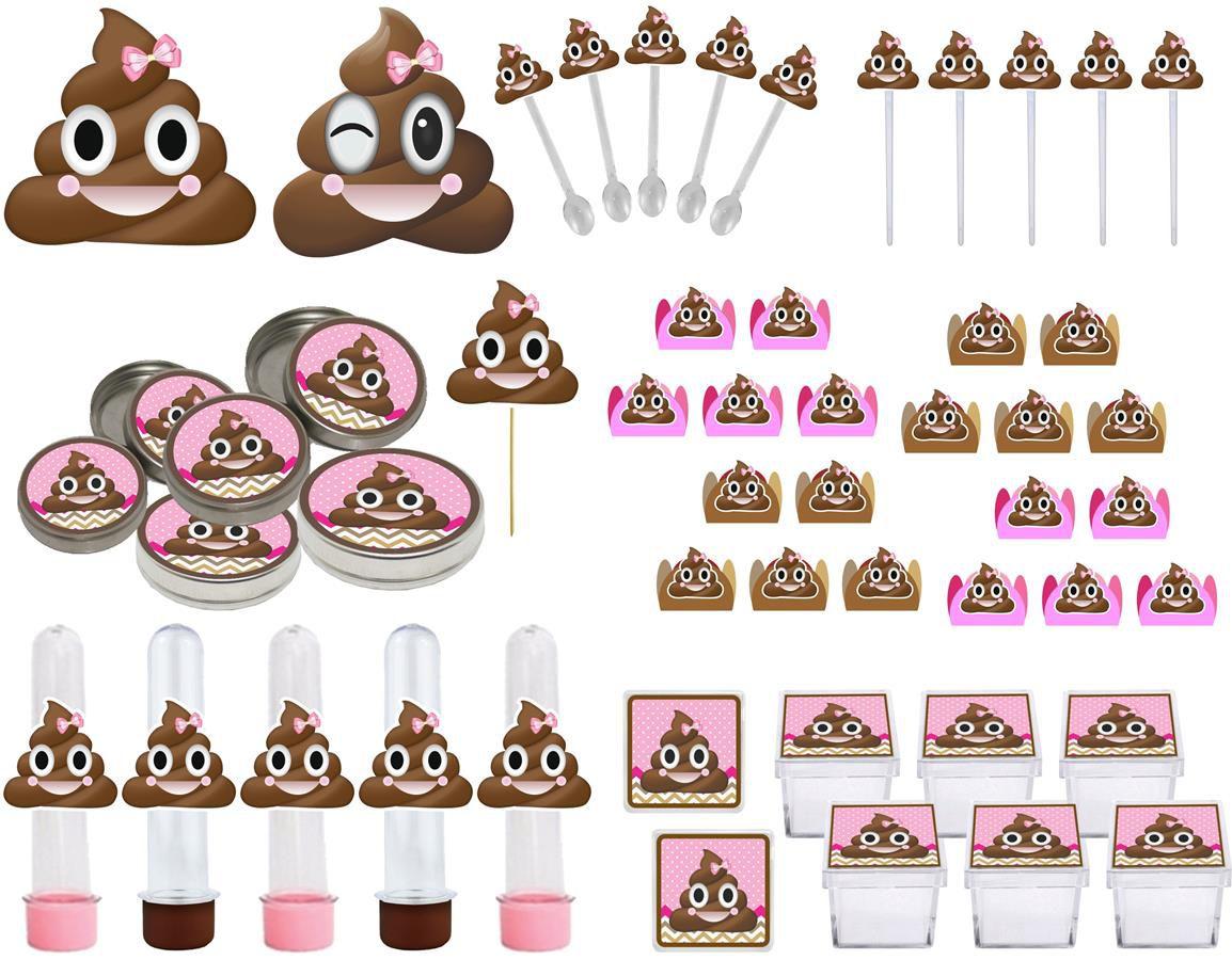 Kit festa Emoji cocô menina 107 peças (10 pessoas)