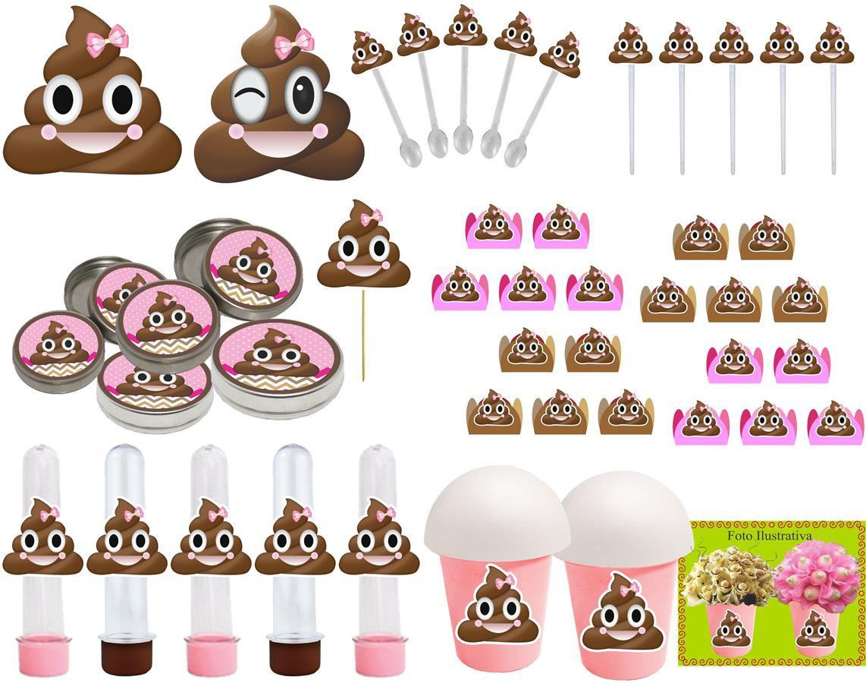 Kit festa Emoji cocô menina 99 peças (10 pessoas)