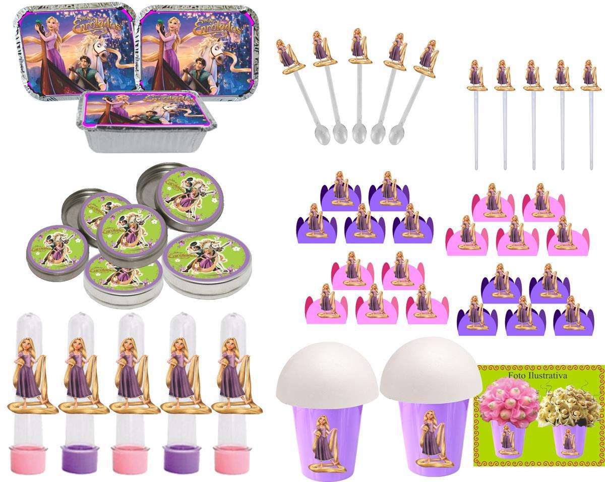 Kit festa Enrolados (Rapunzel) 160 Peças (20 pessoas)
