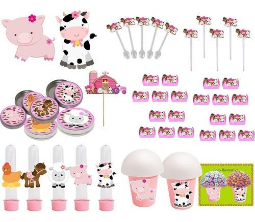 Kit festa Fazendinha menina 99 peças (10 pessoas)