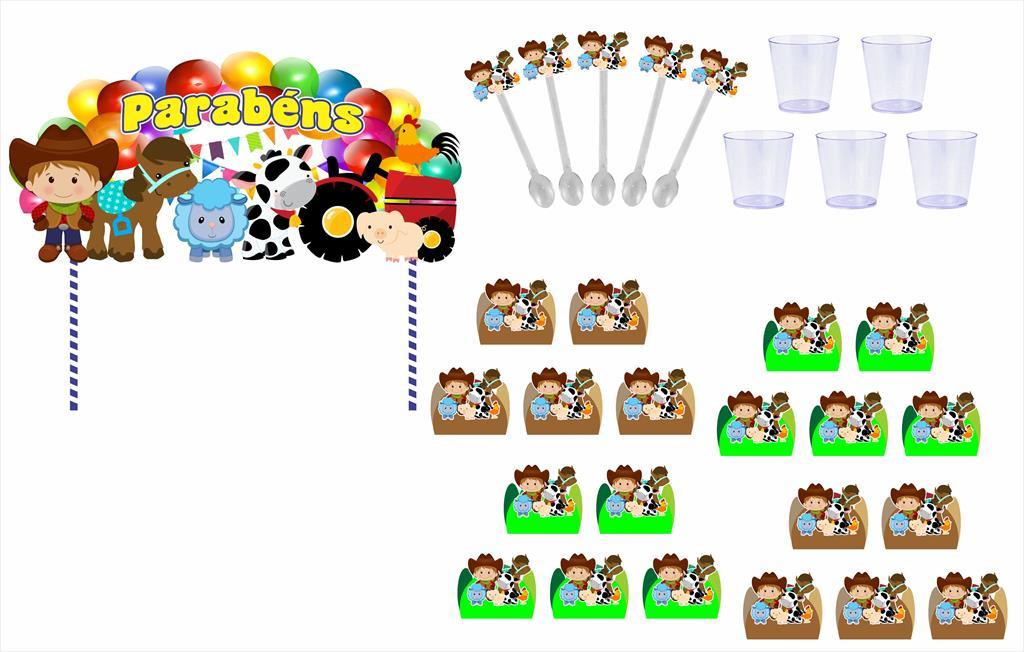 Kit festa Fazendinha menino (verde e marrom) 191 peças (20 pessoas)