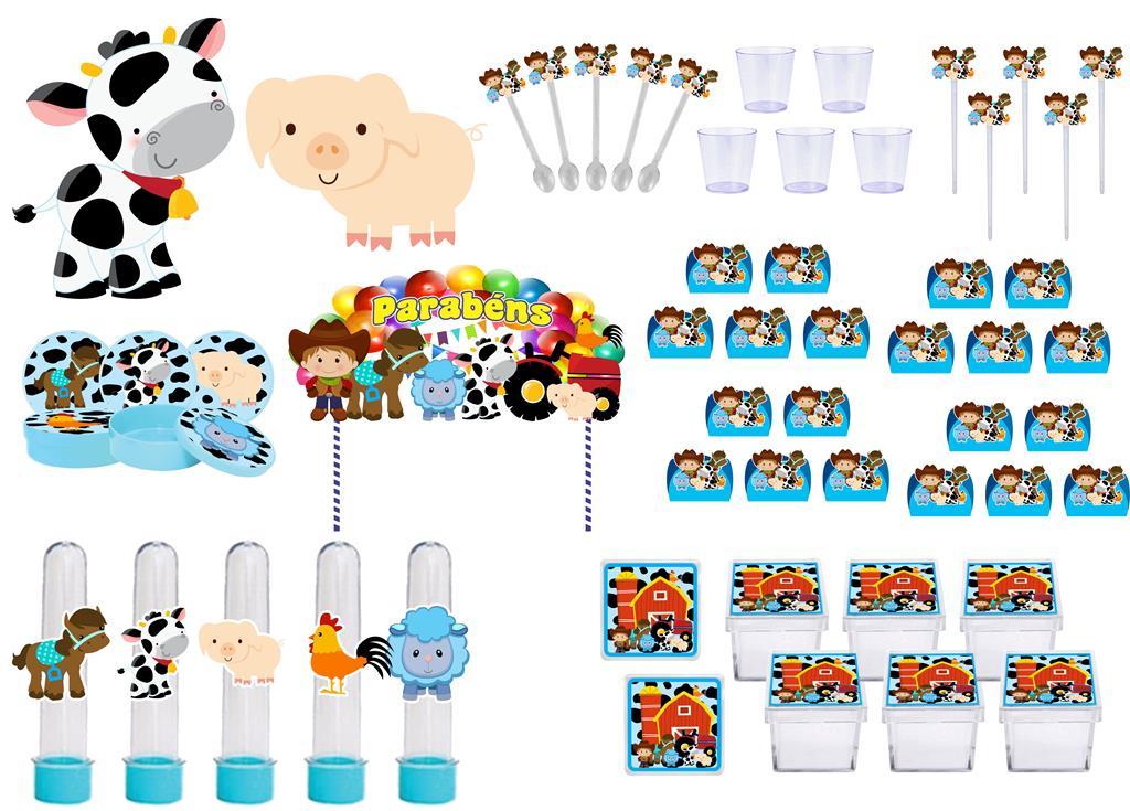 Kit festa Fazendinha menino (azul) 113 peças (10 pessoas)