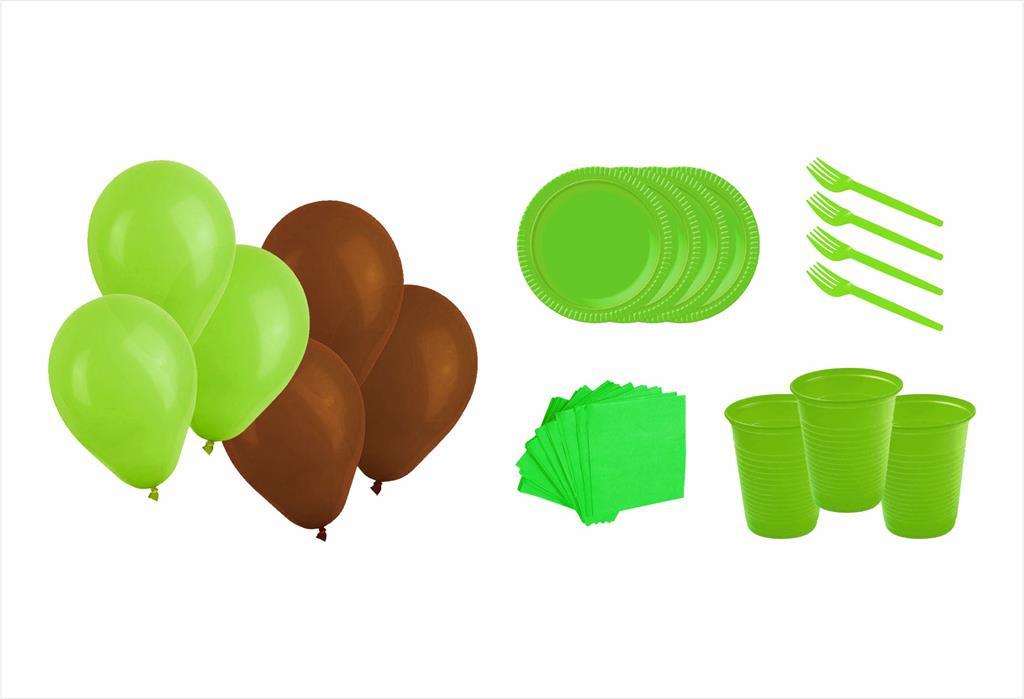 Kit Festa Fazendinha (menino) verde e marrom 363 Peças (20 pessoas)