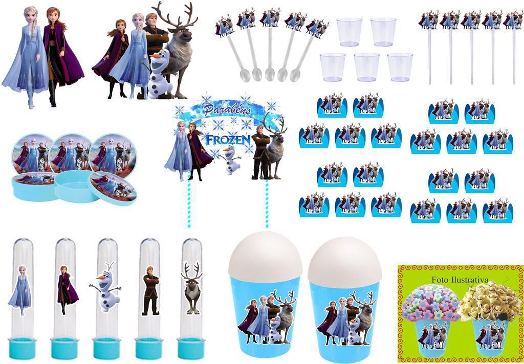 Kit festa Frozen 2 azul claro (155 peças) 20 pessoas
