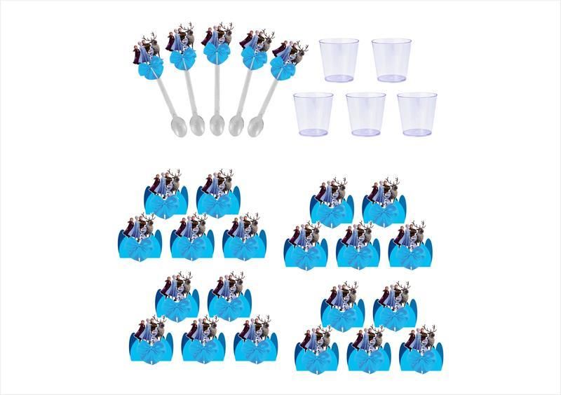 Kit festa decorado  Frozen 2 (azul)  105 peças (10 pessoas)