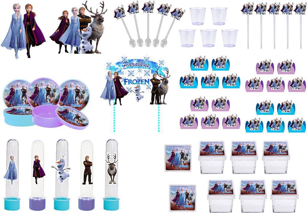 Kit festa Frozen 2 (azul claro e lilás) 173 peças  20 pessoas