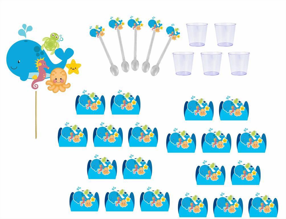 Kit festa Fundo do Mar 121 peças (10 pessoas)