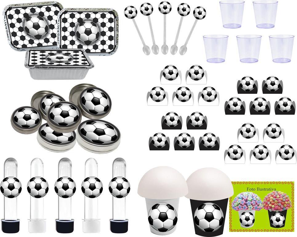 Kit festa futebol (preto e branco ) 152 peças (20 pessoas)