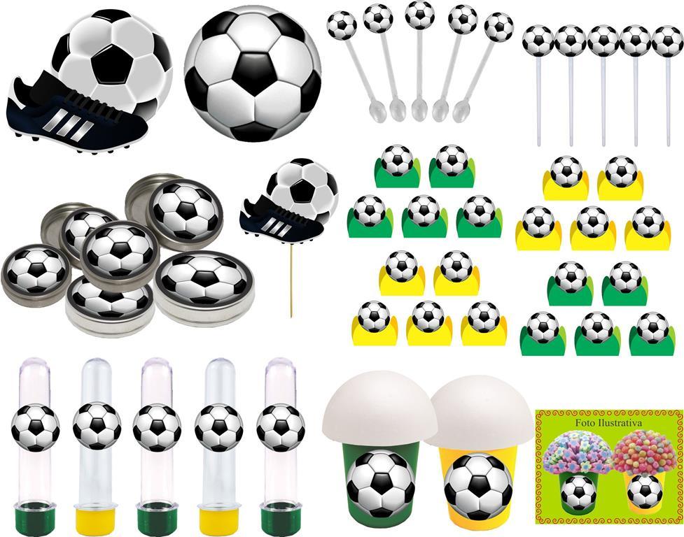 Kit Festa Futebol (verde E Amarelo) 143 Peças (20 pessoas)