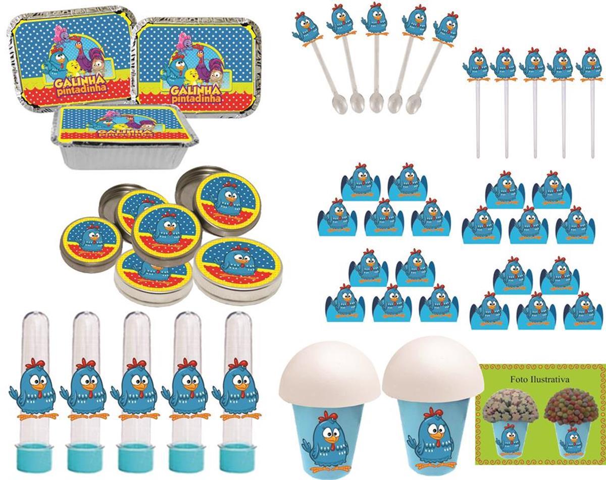 Kit festa galinha Pintadinha Menino 160 peças (20 pessoas)