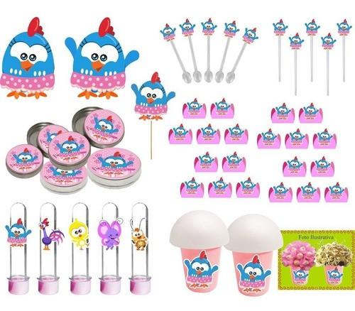 Kit festa Galinha Pintadinha mini menina 99 peças (10 pessoas)