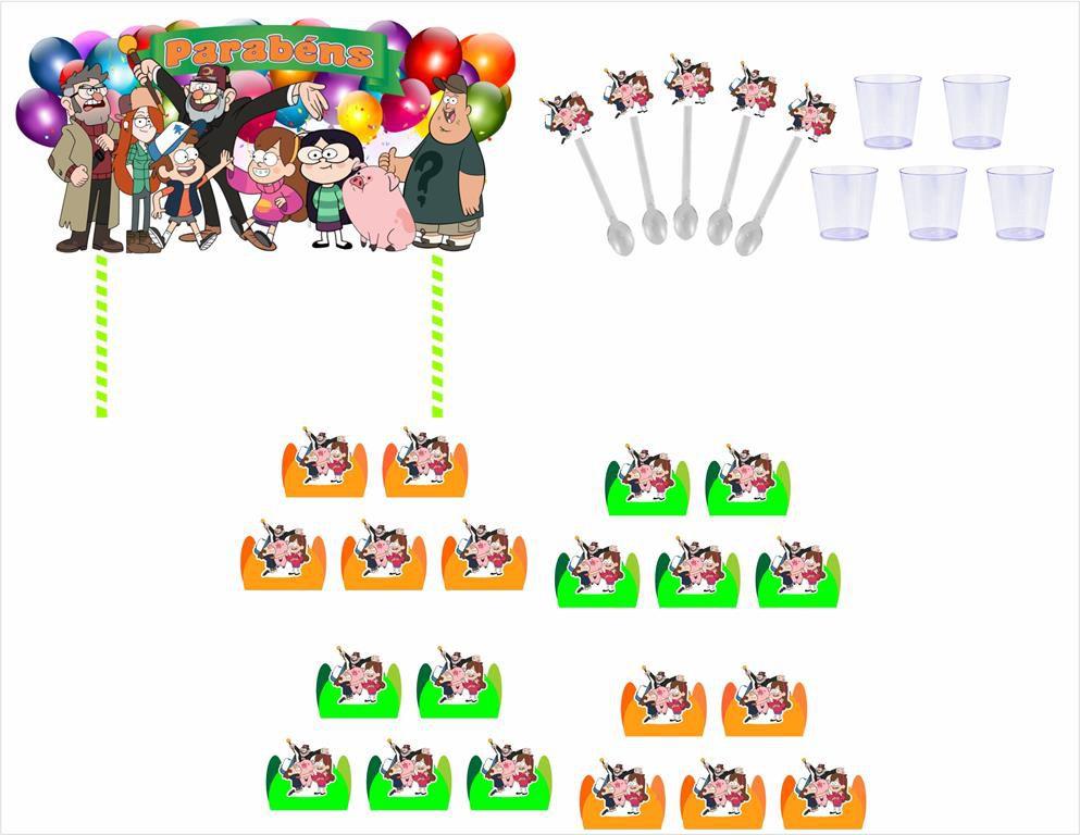Kit festa Gravity Falls 105 peças (10 pessoas)