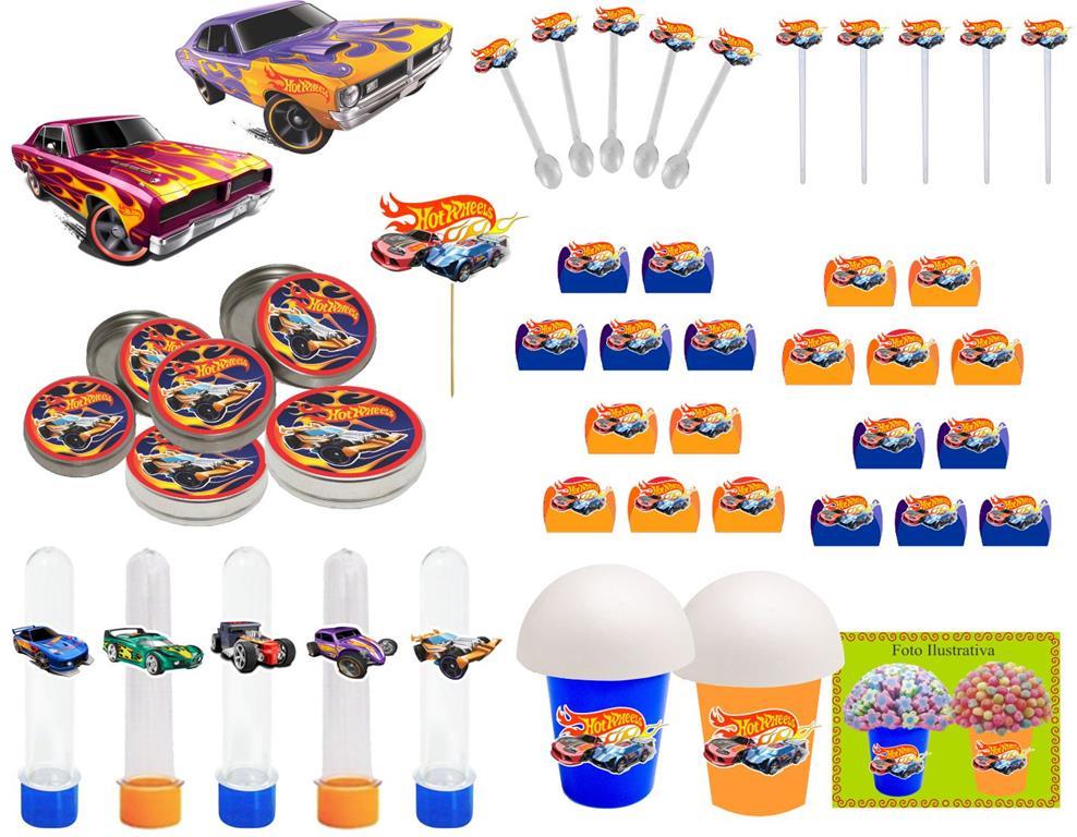Kit festa Hot Wheels 99 peças (10 pessoas)