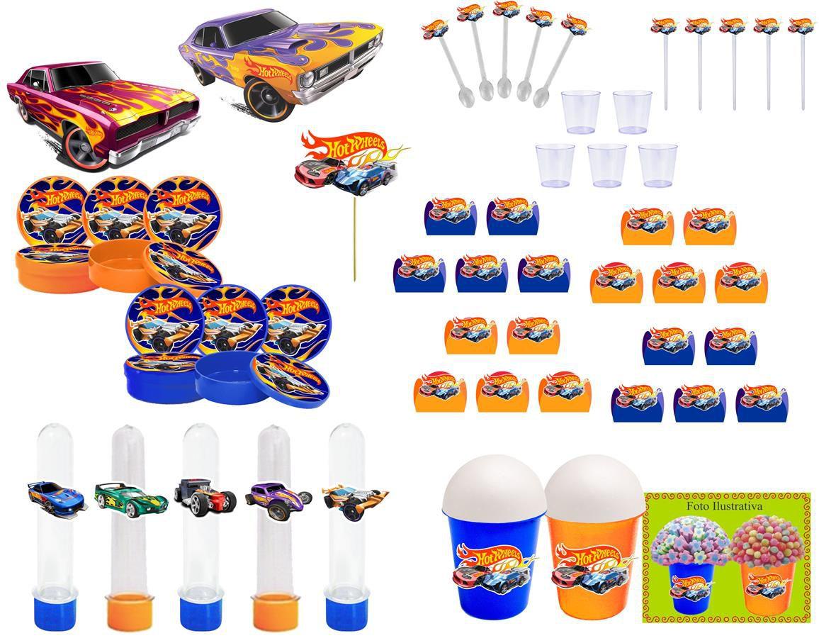 Kit festa Hot Whells 155 peças (20 pessoas)