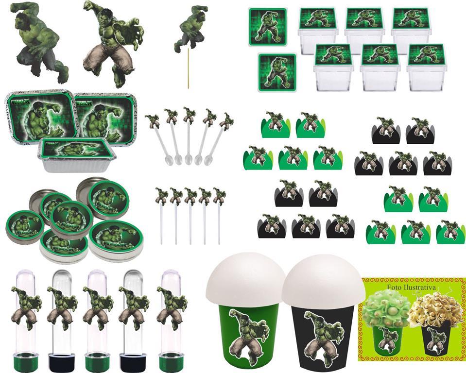 Kit festa Hulk 99 peças (10 pessoas)