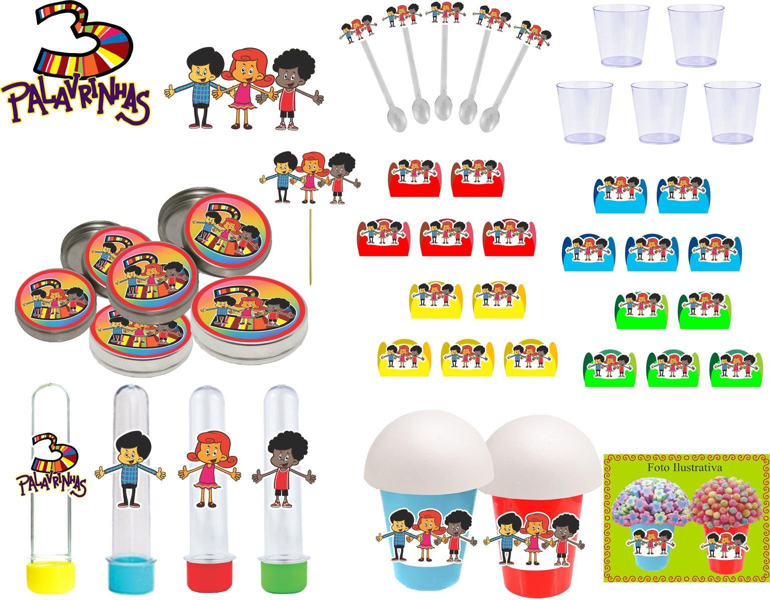 Kit festa infantil 3 Palavrinhas 155 peças (20 pessoas)