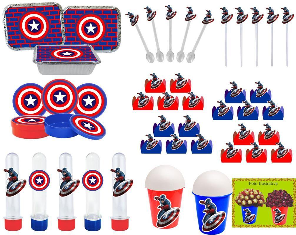 Kit Festa Infantil Capitão América 160 Peças (20 pessoas)