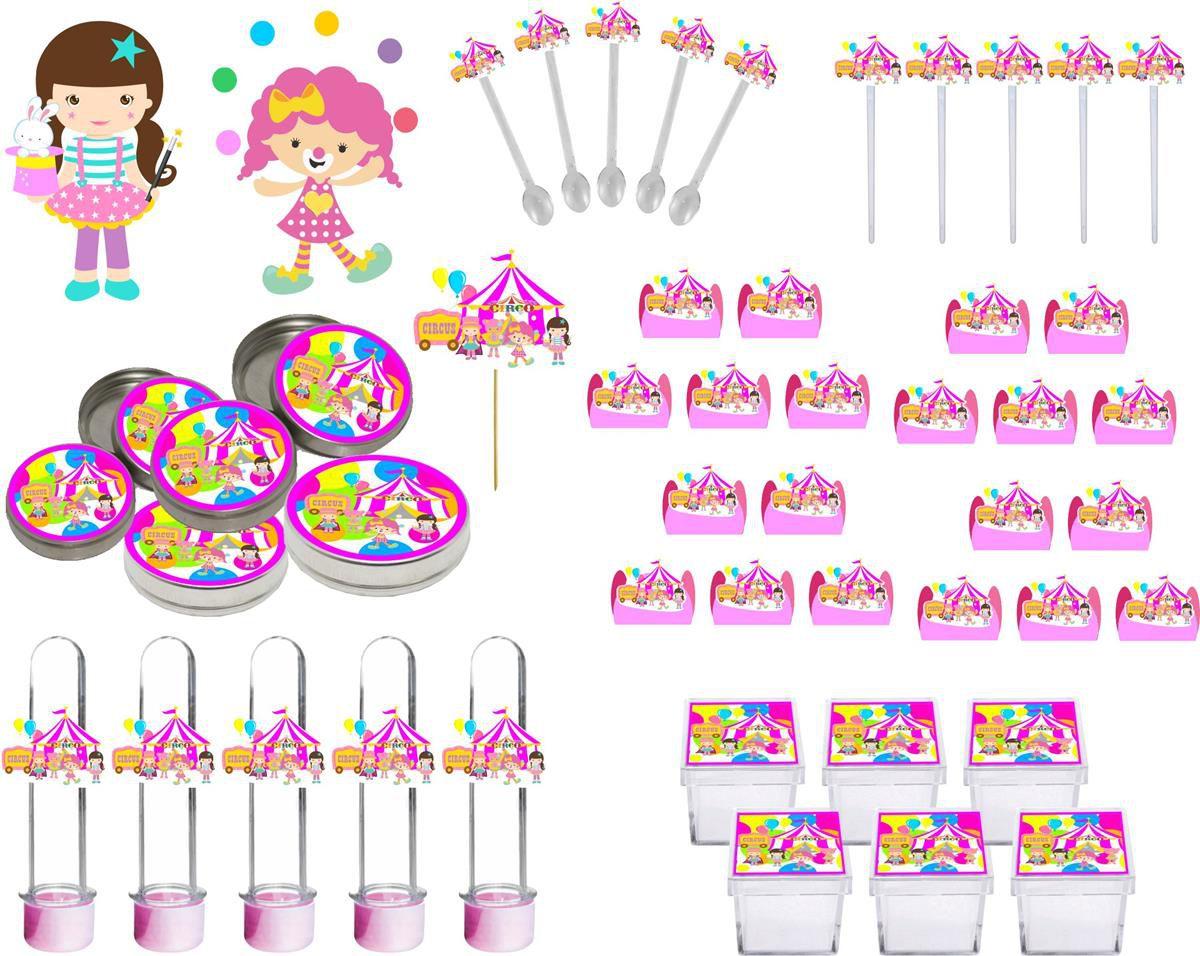 Kit Festa Infantil Circo Menina 293 Pças (30 pessoas)