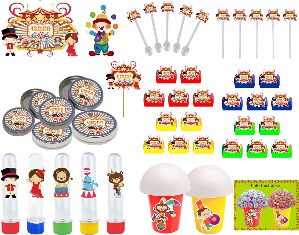 Kit Festa Infantil Circo Vintage 265 Peças (30 pessoas)