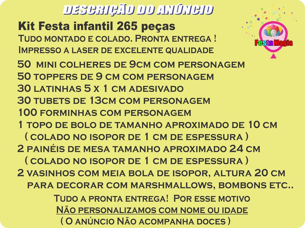 Kit Festa Infantil Dinossauro 265 Peças