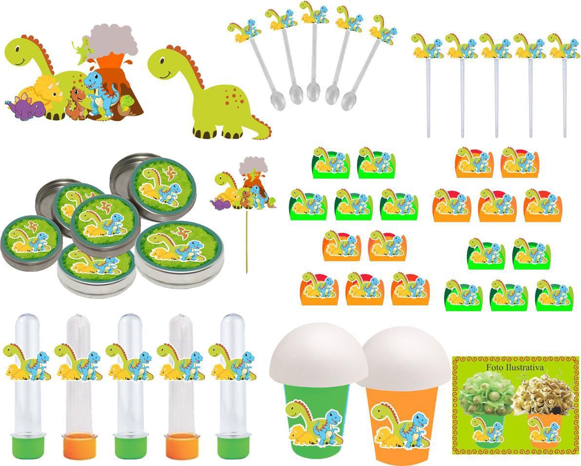 Kit Festa Infantil Dinossauro 265 Peças (30 pessoas )