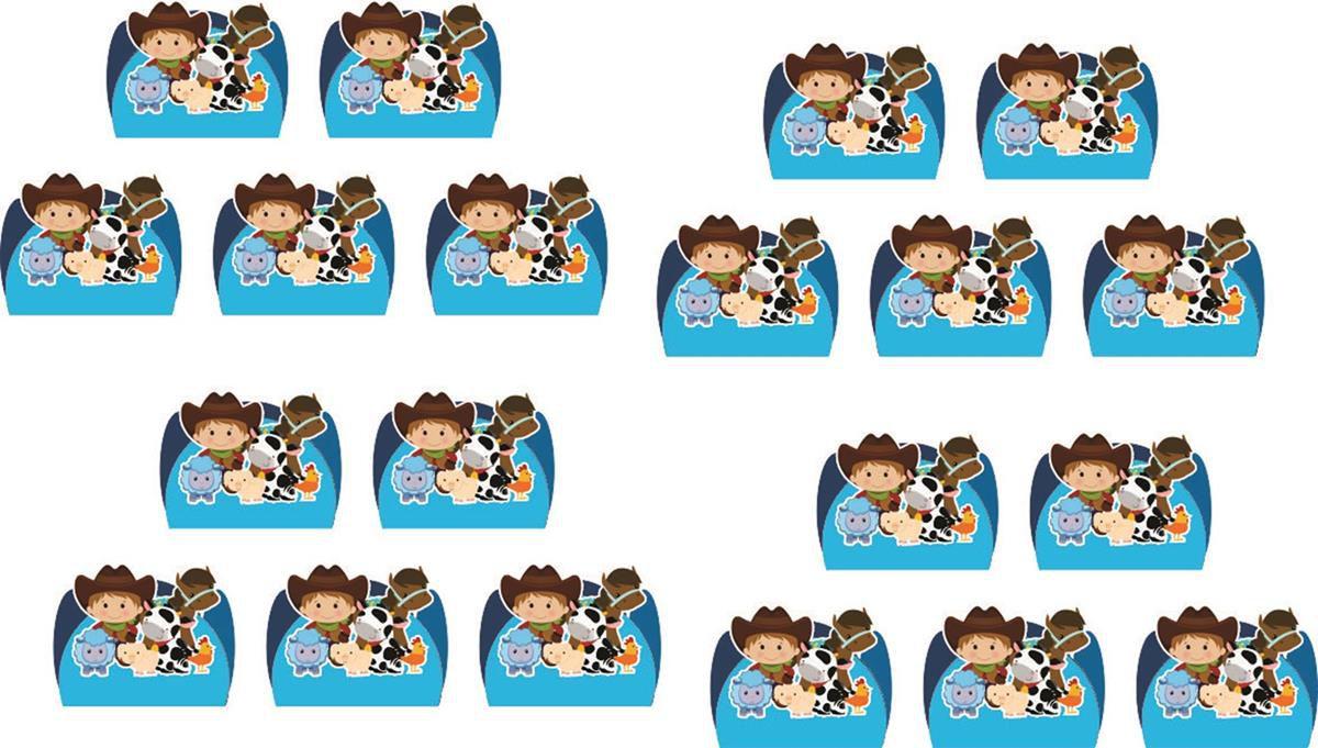 Kit festa infantil Fazendinha Menino 143 peças (20 pessoas)