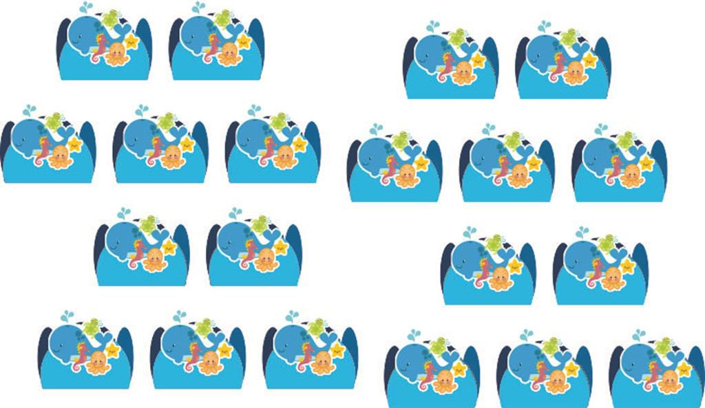 kit festa infantil Fundo do Mar 160 peças (20 pessoas)