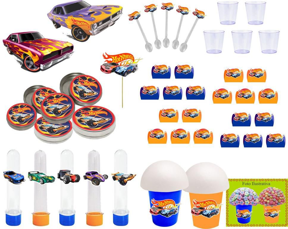 Kit Festa infantil Hot Wheels 155 peças (20 pessoas)