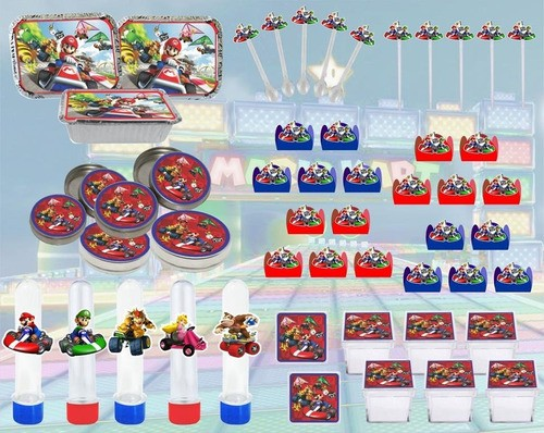 Kit Festa Infantil Mario Kart 178 Peças (20 pessoas)