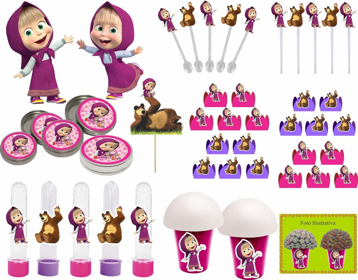 Kit Festa Infantil Masha E O Urso 265 Peças (30 pessoas)