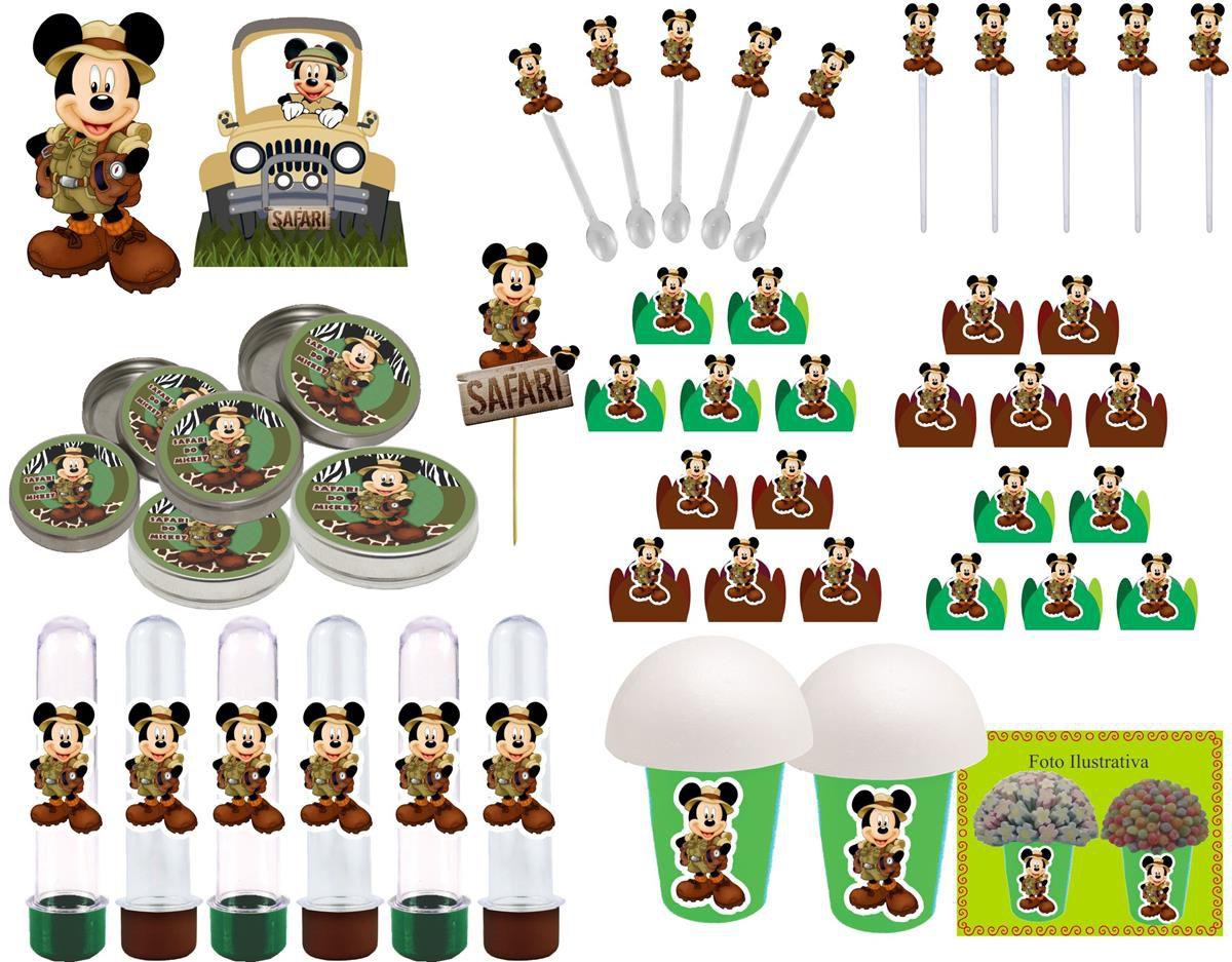 Kit Festa Infantil Mickey Safari 143 Peças (20 pessoas)