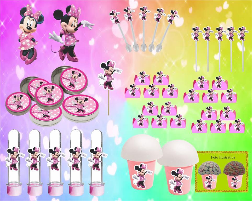 Kit Festa Infantil Minnie Rosa 143 Peças (20 pessoas)