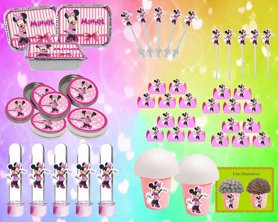 Kit Festa Infantil Minnie Rosa 160 Peças (20 pessoas)