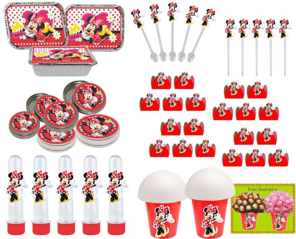 Kit Festa Infantil Minnie Vermelha 352 Peças (50 pessoas)