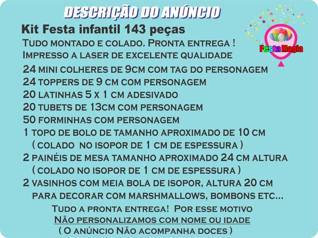 Kit Festa Infantil Nella - Uma Princesa Corajosa 143 Peças
