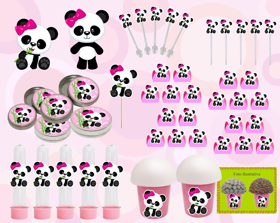 Kit Festa Infantil Panda Menina Rosa 265 Peças