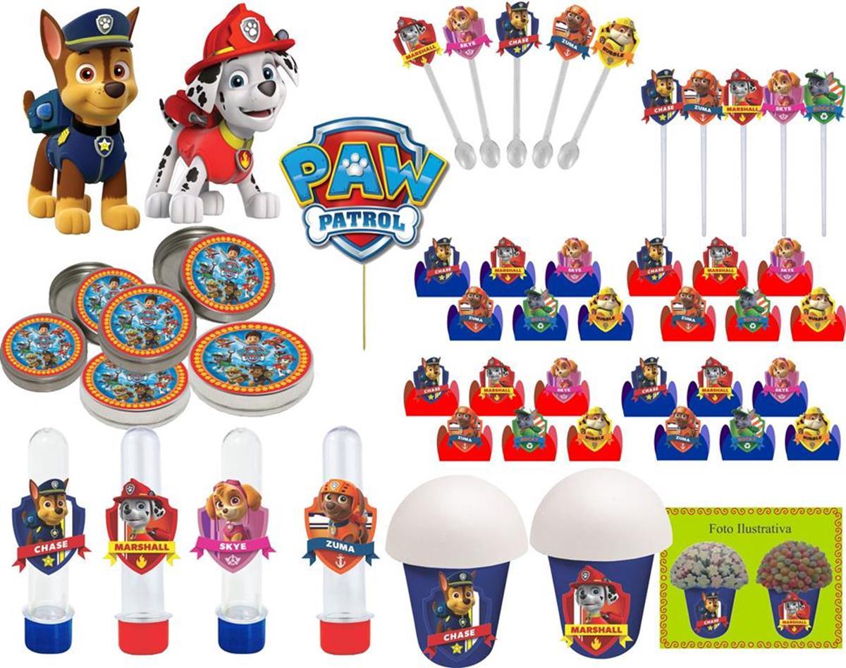 kit festa infantil Patrulha Canina 265 peças (30 pessoas)