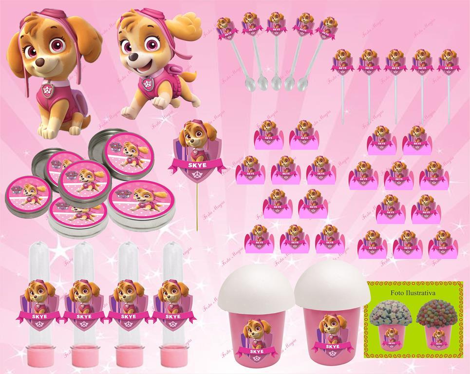 Kit festa Infantil Patrulha Canina menina (Skye) 143 peças (20 pessoas)