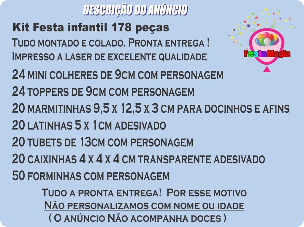 Kit Festa Infantil Patrulha Canina (skye) 178 Pças (20 pessoas)