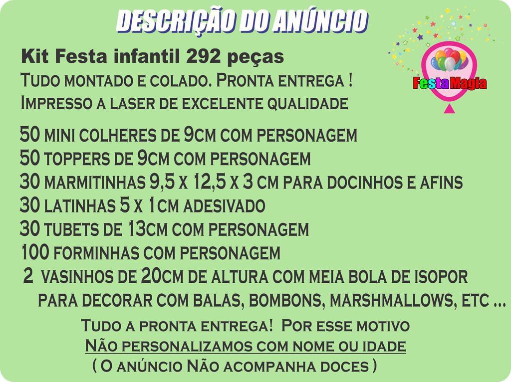 Kit Festa Infantil Pocoyo 292 Peças (30 pessoas)