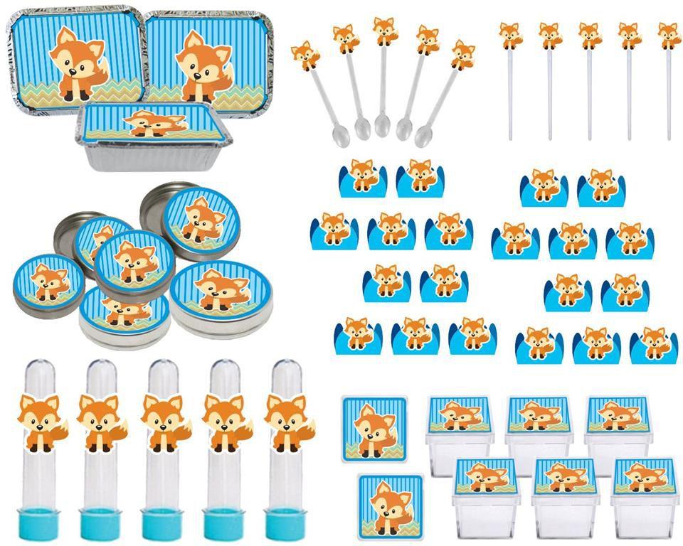 Kit festa Raposinha menino 114 peças  (10 pessoas)