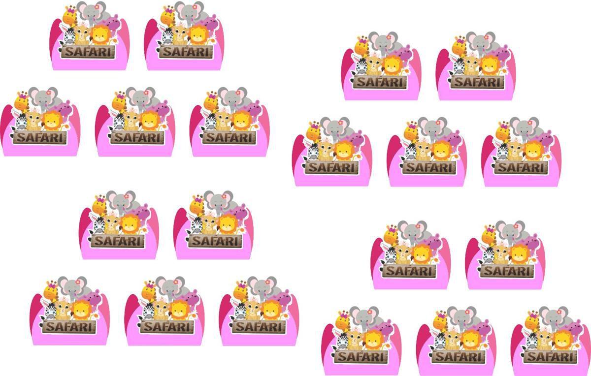 Kit Festa Infantil Safari Menina 160 Peças (20 pessoas)
