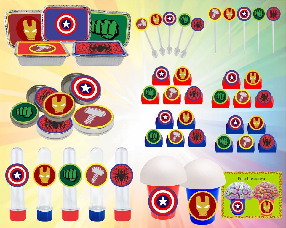 Kit Festa Vingadores Símbolos 160 Peças (20 pessoas)