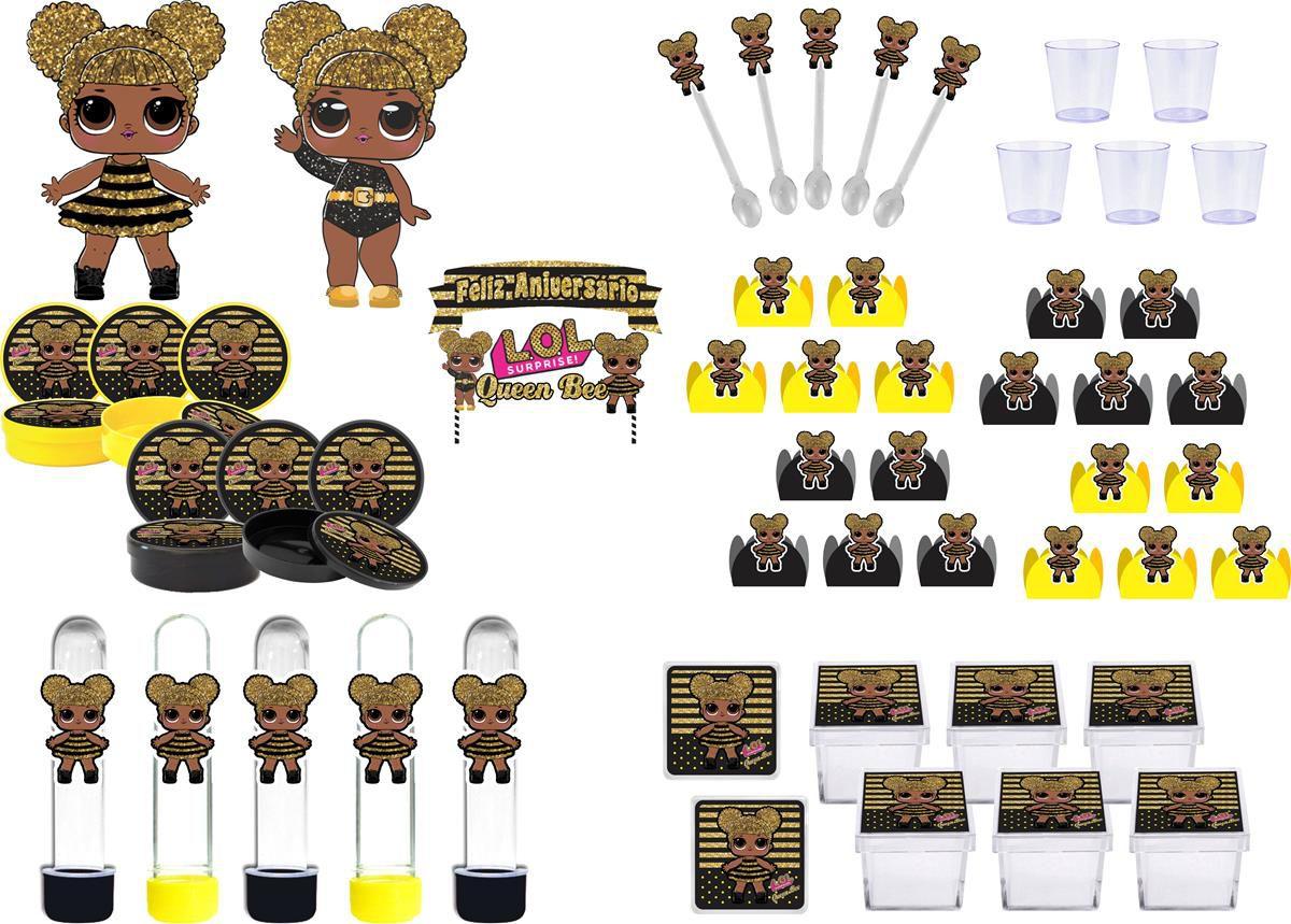 Kit festa Lol Queen Bee 103 peças (10 pessoas)
