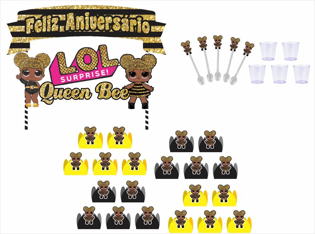 Kit festa Lol Queen Bee 95 peças (10 pessoas)