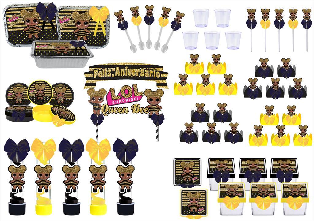 Kit festa decorado Lol Queen Bee Baby   121 peças (10 pessoas)