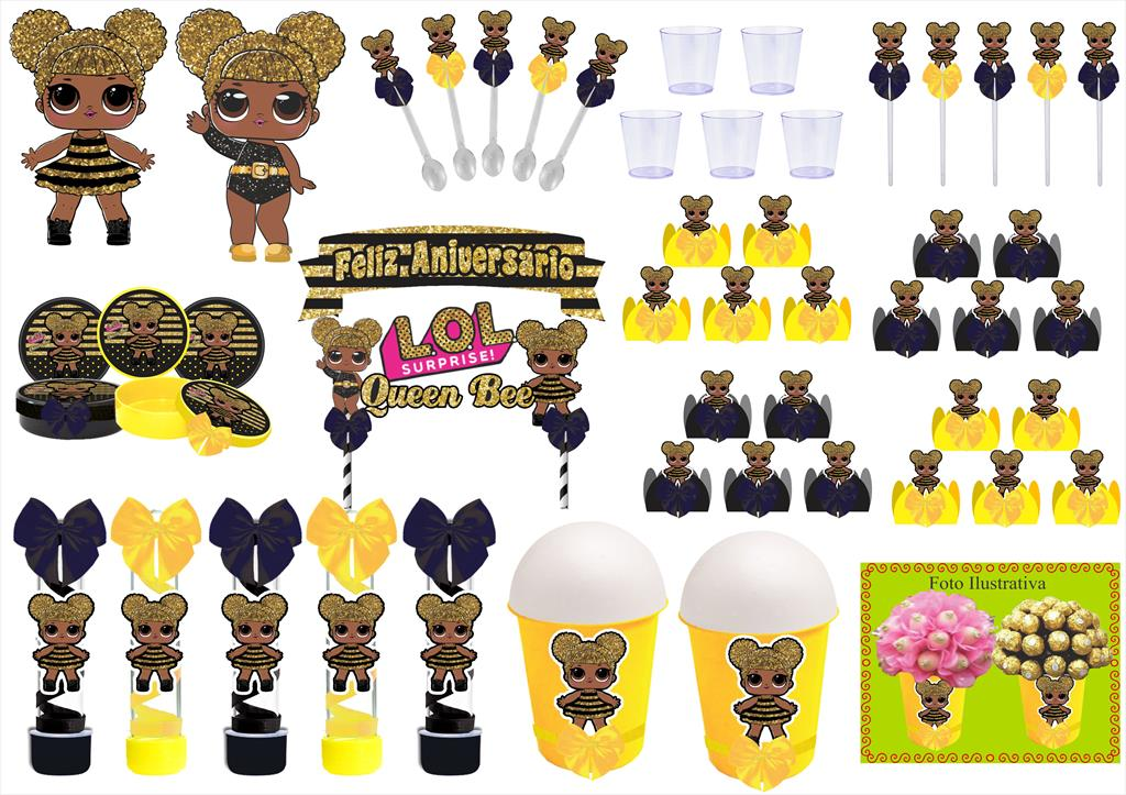 Kit festa decorado Lol Queen Bee 105 peças (10 pessoas)