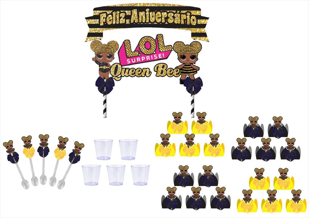 Kit festa decorado Lol Queen Bee 113 peças (10 pessoas)
