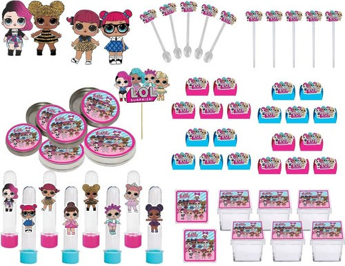 kit Festa Lol Surprise (pink E Azul Claro) 107 Peças (10 Pessoas)