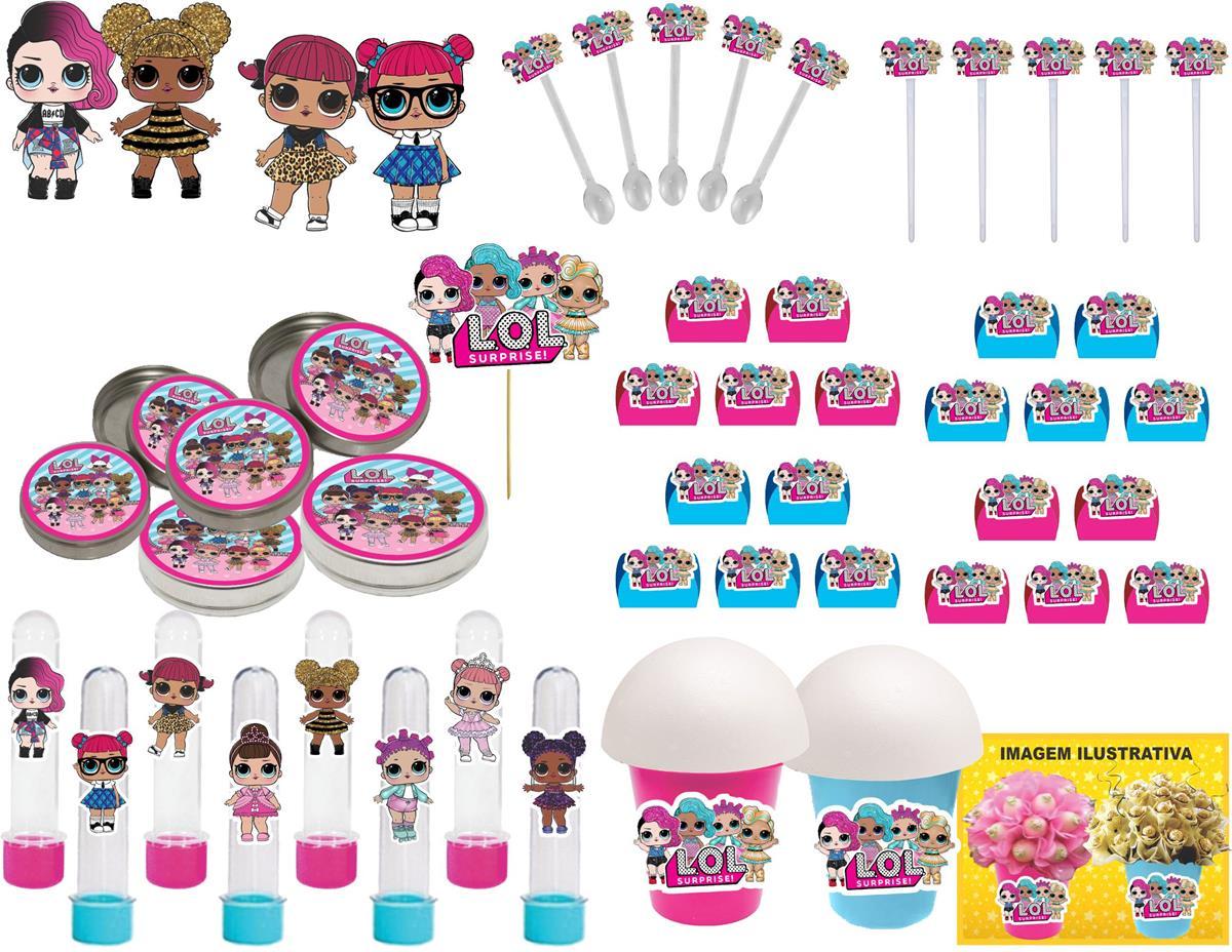 Kit Festa Lol Surprise (pink E Azul Claro) 143 Peças (20 pessoas)